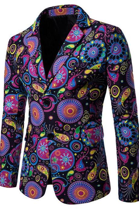 Men Blazer Coat Spring Autumn Africa National Style Printed Slim Fit Casual Male Suit Jacket X10