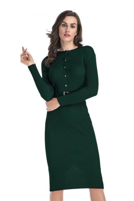 Women Knitted Sweater Dress Slim Long Sleeve Button Belted Casual Bodycon Party Pencil Dress green