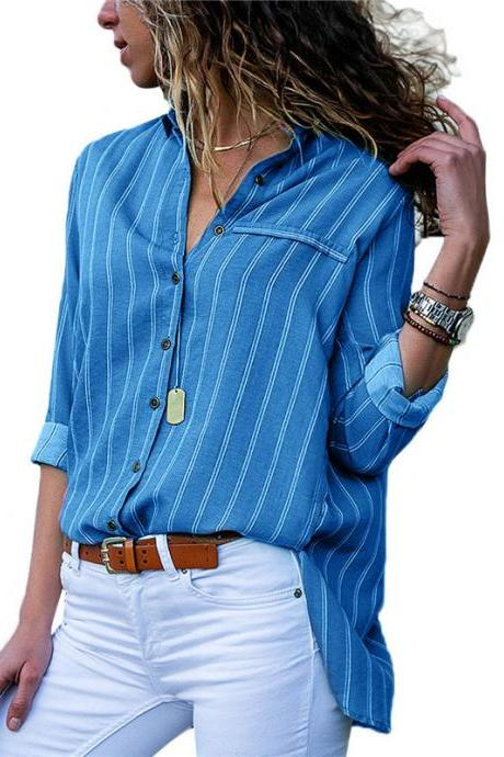 Women Striped Blouse Spring Autumn Button Casual Long Sleeve Loose Office Tops Shirt blue
