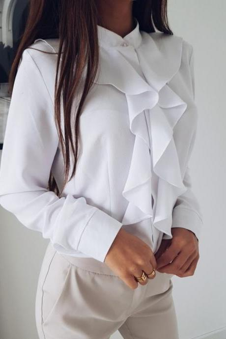 Women Blouse Spring Autumn Ruffles Long Sleeve Casual Slim Work Office OL Top Shirt off white