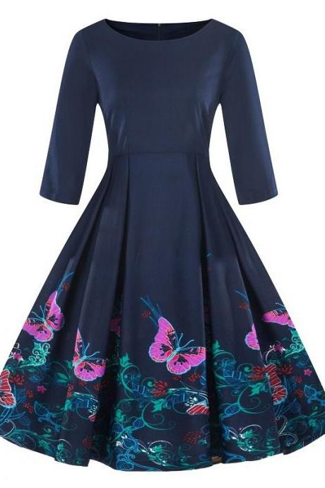 Women Floral Printed Dress Autumn 3/4 Sleeve Work Office Rockabilly A Line Party Dress7#
