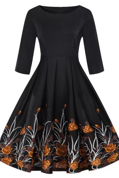 Women Floral Printed Dress Autumn 3/4 Sleeve Work Office Rockabilly A Line Party Dress 8#