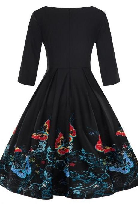 Women Floral Printed Dress Autumn 3/4 Sleeve Work Office Rockabilly A Line Party Dress 9#