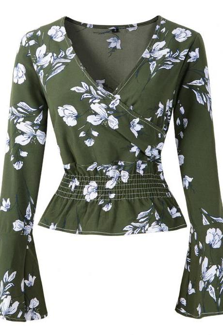Women Chiffon Blouse Spring Autumn V Neck Long Flare Sleeve Floral Printed Casual Short Tops army green
