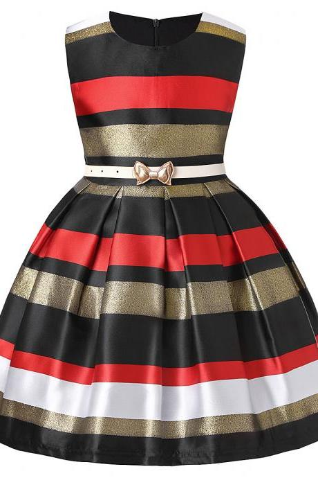Striped Flower Girl Dress Sleeveless Formal Birthday Princess Party Gown Children Kids Clothes black+red