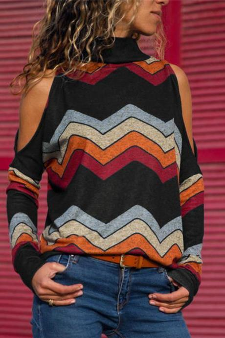 Women Knitted Sweater Off Shoulder Long Sleeve Casual Loose Turtleneck Geometric Printed Pullover Tops black