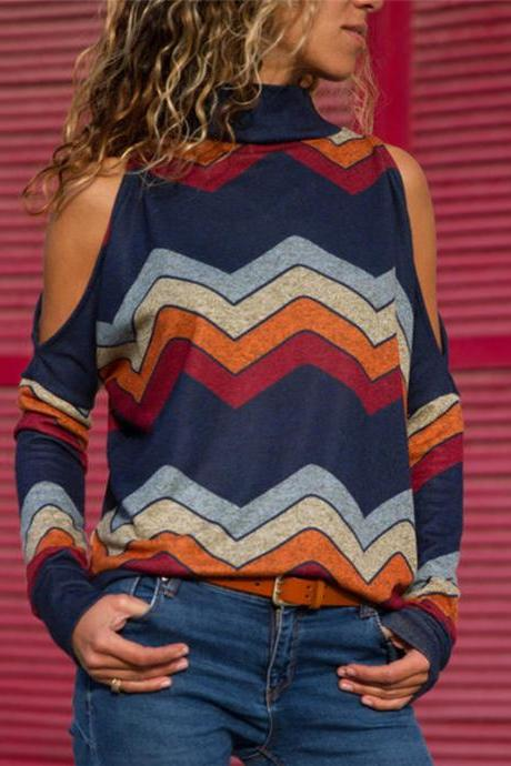 Women Knitted Sweater Off Shoulder Long Sleeve Casual Loose Turtleneck Geometric Printed Pullover Tops navy blue
