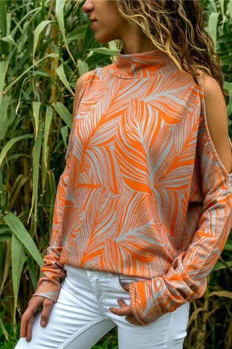 Women Knitted Sweater Off Shoulder Long Sleeve Casual Loose Turtleneck Geometric Printed Pullover Tops orange