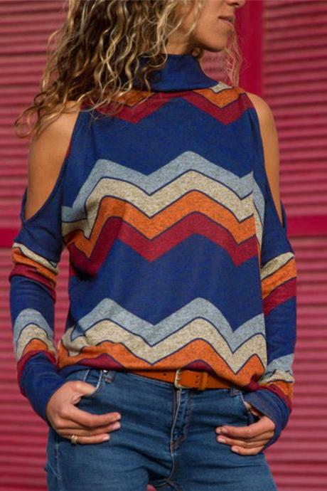 Women Knitted Sweater Off Shoulder Long Sleeve Casual Loose Turtleneck Geometric Printed Pullover Tops royal blue