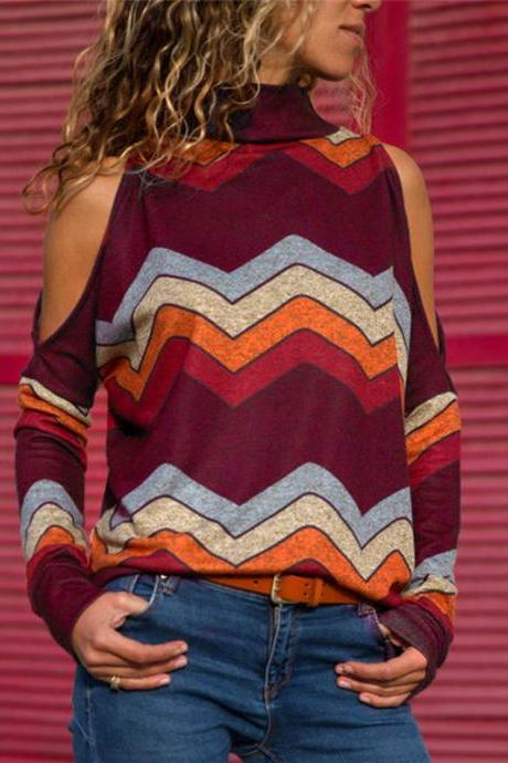 Women Knitted Sweater Off Shoulder Long Sleeve Casual Loose Turtleneck Geometric Printed Pullover Tops wine red