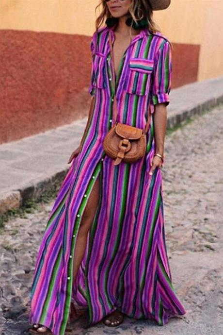 Women Striped Maxi Dress Short Sleeve Button Floor Length Streetwear Casual Long Shirt Dress purple