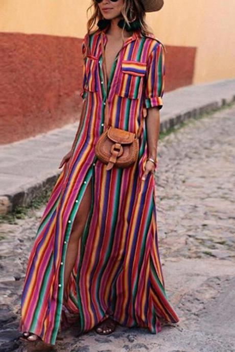 Women Striped Maxi Dress Short Sleeve Button Floor Length Streetwear Casual Long Shirt Dress red