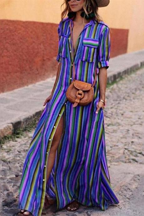 Women Striped Maxi Dress Short Sleeve Button Floor Length Streetwear Casual Long Shirt Dress royal blue