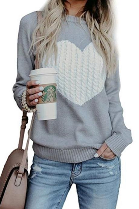Women Knitted Sweater Autumn Winter Long Sleeve Heart Pattern Casual Loose Pullover Tops gray