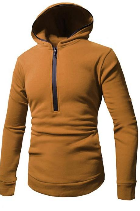 Men Hoodies Spring Autumn Male Long Sleeve Zipper Causal Slim Hooded Sweatshirt Tops camel