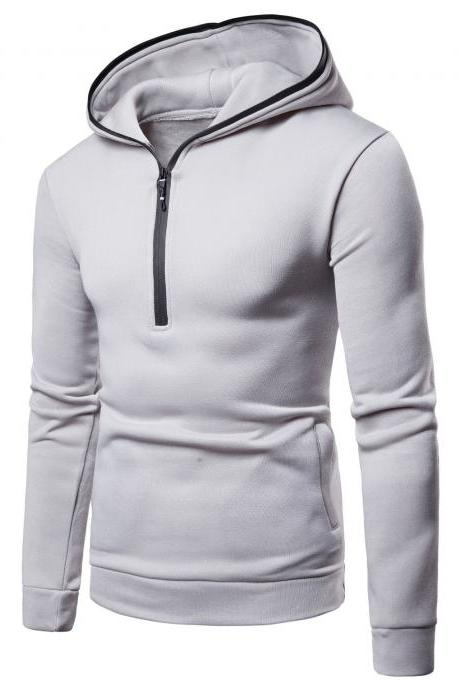 Men Hoodies Spring Autumn Male Long Sleeve Zipper Causal Slim Hooded Sweatshirt Tops gray