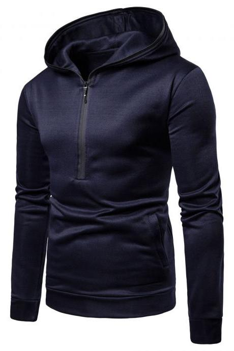 Men Hoodies Spring Autumn Male Long Sleeve Zipper Causal Slim Hooded Sweatshirt Tops navy blue