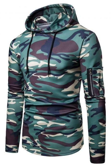 Men Camouflage Hoodies Autumn Winter Male Long Sleeve Causal Slim Hooded Sweatshirt Tops green