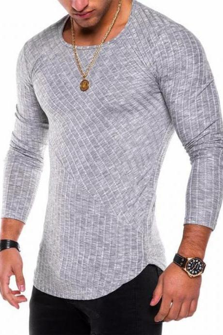 Men Long Sleeve T-Shirt Spring Autumn Round Neck Casual Streetwear Slim Fit Tops gray
