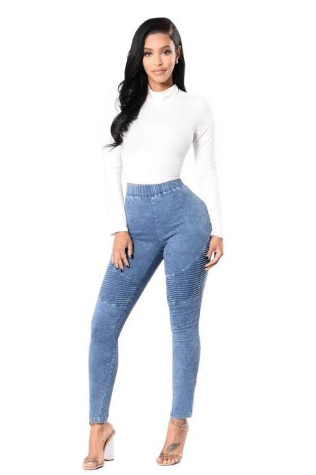 Women Denim Pants Elastic High Waist Pleasted Slim Stretch Jeans Pencil Trousers light blue