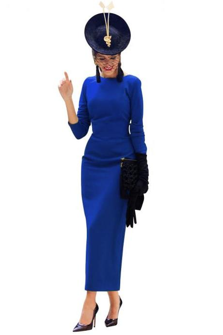 Women Maxi Dress Long Sleeve Backless V-Back Button Split Bodycon NightClub Party Dress royal blue