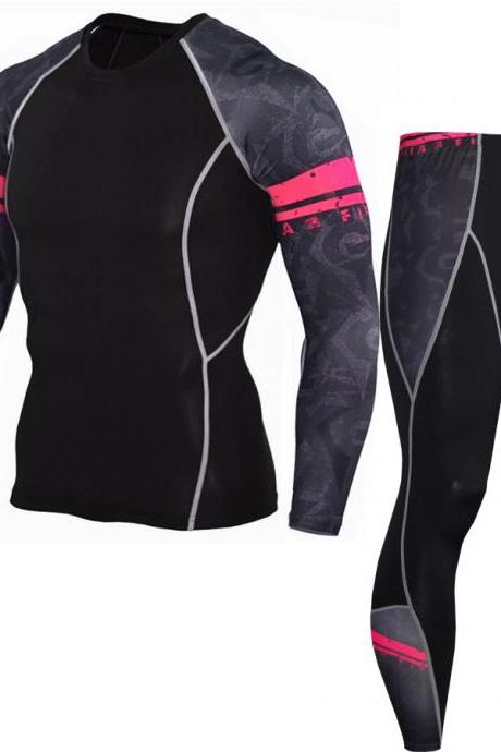 Men Tracksuit 3D Printed Long Sleeve Casual Fitness Slim Fit Sportswear Quick Dry Two Pieces Set 7#