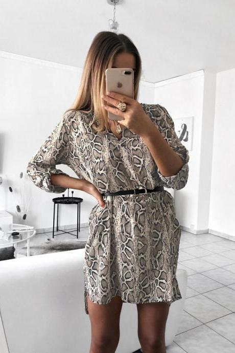 Women Shirt Dress V Neck Snake/Leopard Printed Long Sleeve Casual Loose Mini Club Party Dress 1#