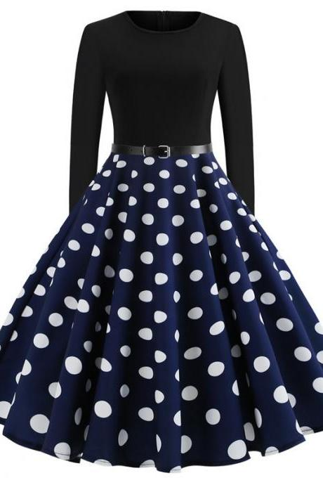 Women Polka Dot Printed Dress Long Sleeve Patchwork Slim A Line Formal Party Dress JY13106