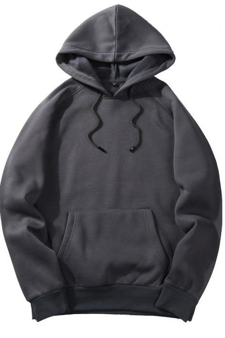 Men Hoodies Winter Warm Long Sleeve Streetwear Hip Hop Casual Hooded Sweatshirts dark gray