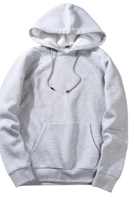 Men Hoodies Winter Warm Long Sleeve Streetwear Hip Hop Casual Hooded Sweatshirts gray