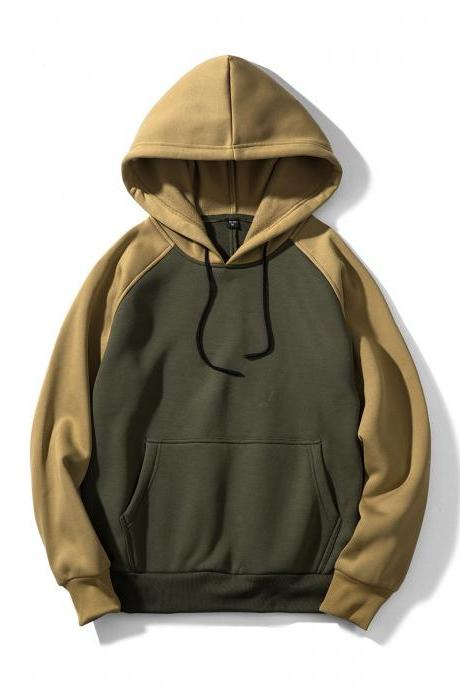 Men Hoodies Winter Warm Long Sleeve Streetwear Hip Hop Casual Hooded Sweatshirts WY39-green