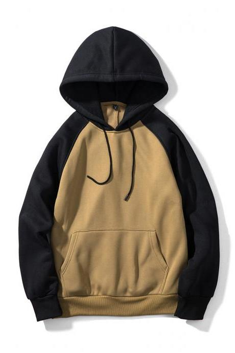 Men Hoodies Winter Warm Long Sleeve Streetwear Hip Hop Casual Hooded Sweatshirts WY39-khaki