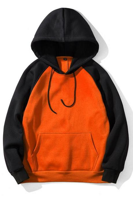 Men Hoodies Winter Warm Long Sleeve Streetwear Hip Hop Casual Hooded Sweatshirts WY39-orange