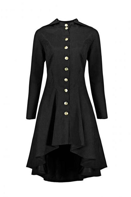 Women Asymmetrical Coat Vintage Gothic Slim Back Lace Up Hooded Button Casual Long High Low Jacket black