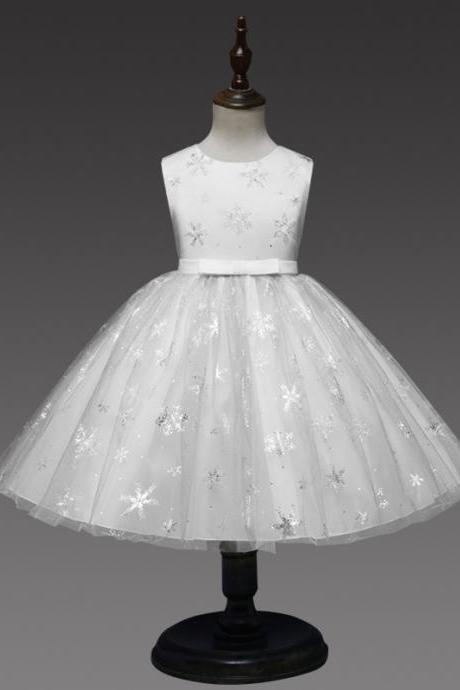 Snowflake Flower Girl Dress Princess Sleeveless Wedding Formal Party Tutu Ball Gown Children Clothes off white