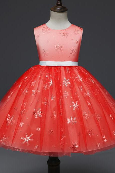 Snowflake Flower Girl Dress Princess Sleeveless Wedding Formal Party Tutu Ball Gown Children Clothes red