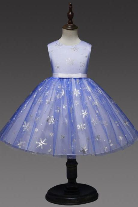 Snowflake Flower Girl Dress Princess Sleeveless Wedding Formal Party Tutu Ball Gown Children Clothes royal blue
