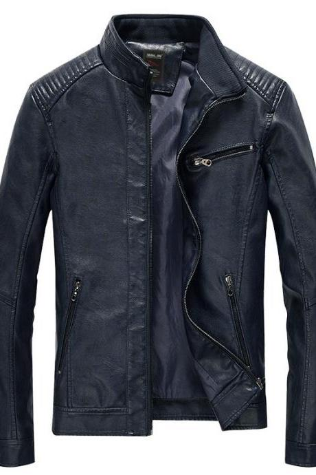 Men Faux PU Leather Jacket Fashion Casual Long Sleeve Streetwear Slim Motorcycle Coat Outwear navy blue