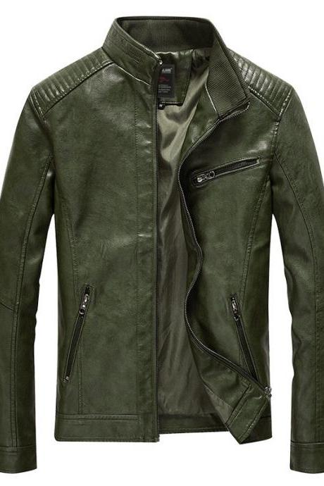 Men Faux PU Leather Jacket Fashion Casual Long Sleeve Streetwear Slim Motorcycle Coat Outwear army green