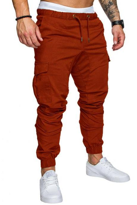 Men Pants Drawstring Waist Multi-Pocket Sports Hip Hop Harem Workout Joggers Casual Trousers brown