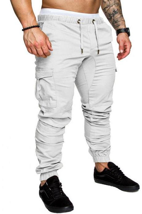 Men Pants Drawstring Waist Multi-Pocket Sports Hip Hop Harem Workout Joggers Casual Trousers off white