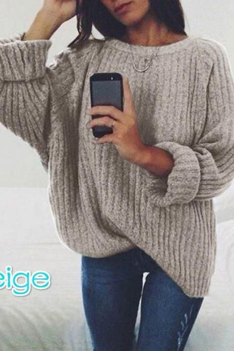 Women Knitted Sweater Autumn Winter Crew Neck Long Sleeve Casual Loose Pullover Tops beige