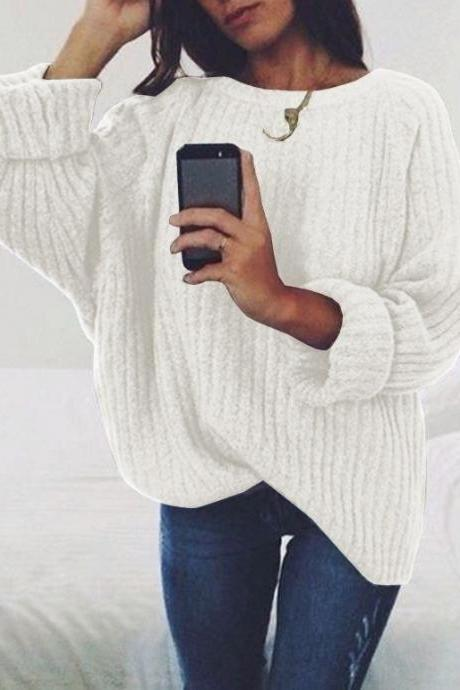 Women Knitted Sweater Autumn Winter Crew Neck Long Sleeve Casual Loose Pullover Tops off white