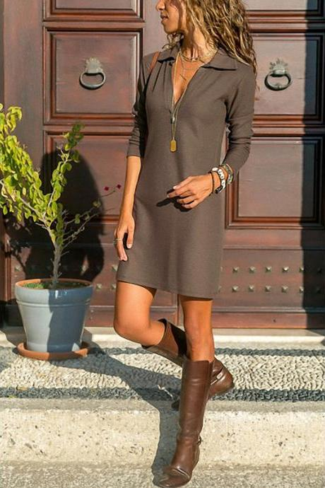 Women T Shirt Dress Spring Autumn Long Sleeve Turn-down Collar Streetwear Casual Mini Party Dress khaki