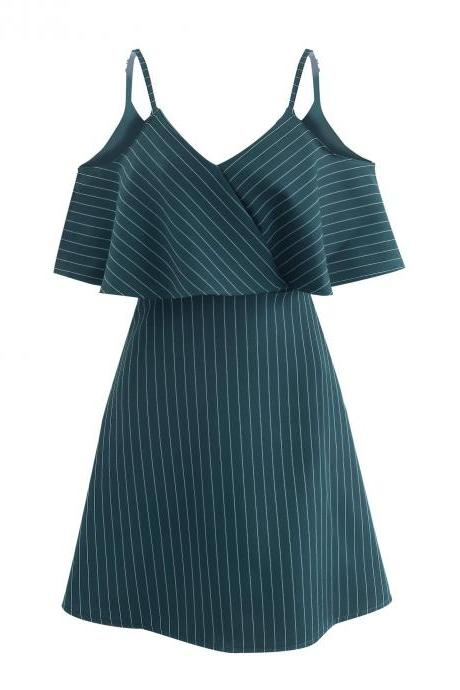 Women Striped Dress Summer Spaghetti Straps Sleeveless Casual Slim Mini A Line Club Party Dress green