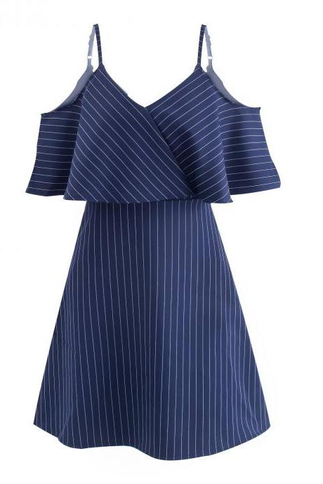 Women Striped Dress Summer Spaghetti Straps Sleeveless Casual Slim Mini A Line Club Party Dress navy blue