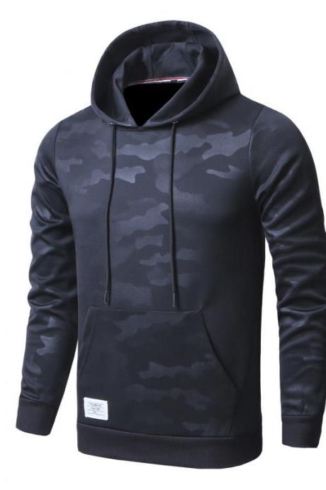 Men Camouflage Hoodies Spring Autumn Long Sleeve Hip Hop Streetwear Casual Slim Hooded Sweatshirt black