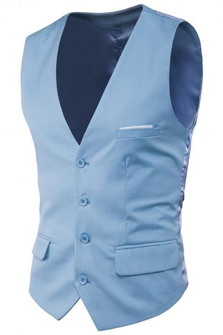 Men Suit Waistcoat Single Breasted Vest Jacket Casual Business Slim Fit Sleeveless Coat baby blue