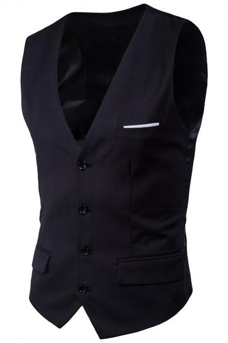 Men Suit Waistcoat Single Breasted Vest Jacket Casual Business Slim Fit Sleeveless Coat black