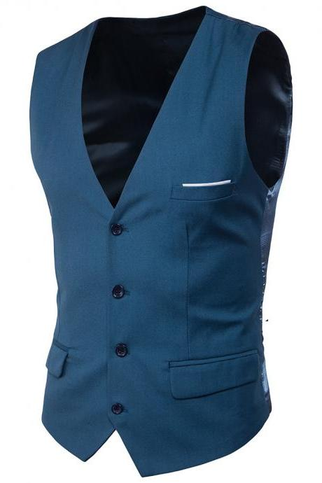 Men Suit Waistcoat Single Breasted Vest Jacket Casual Business Slim Fit Sleeveless Coat blue